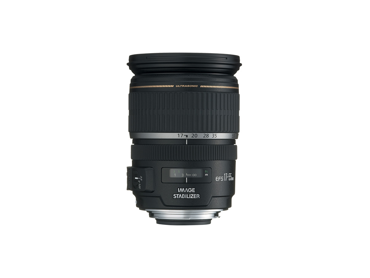 Side view of Canon EF-S 17-55mm f/2.8 IS USM lens
