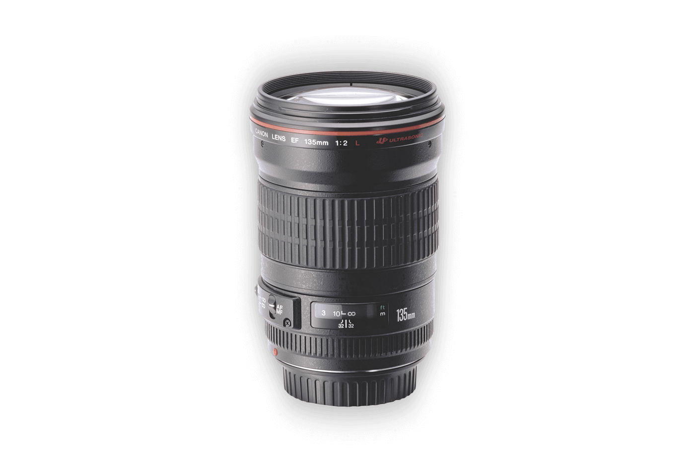 Side view of Canon EF 135mm f/2L USM lens