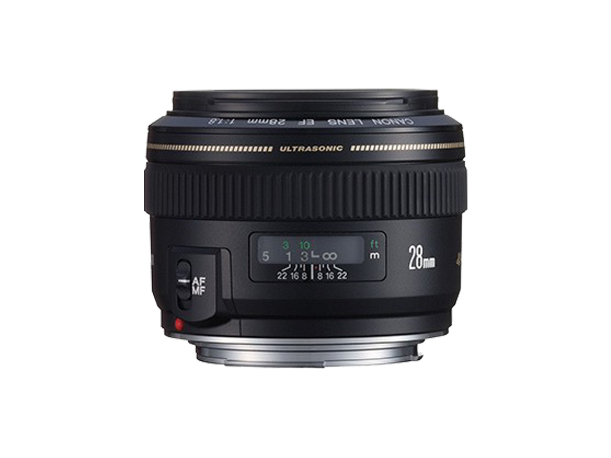 Side view of Canon EF 28mm f/1.8 USM lens