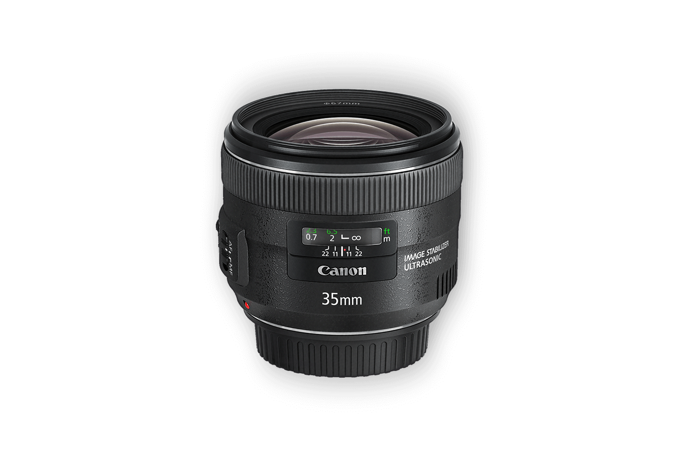 Side view of EF 35mm f/2 IS USM lens