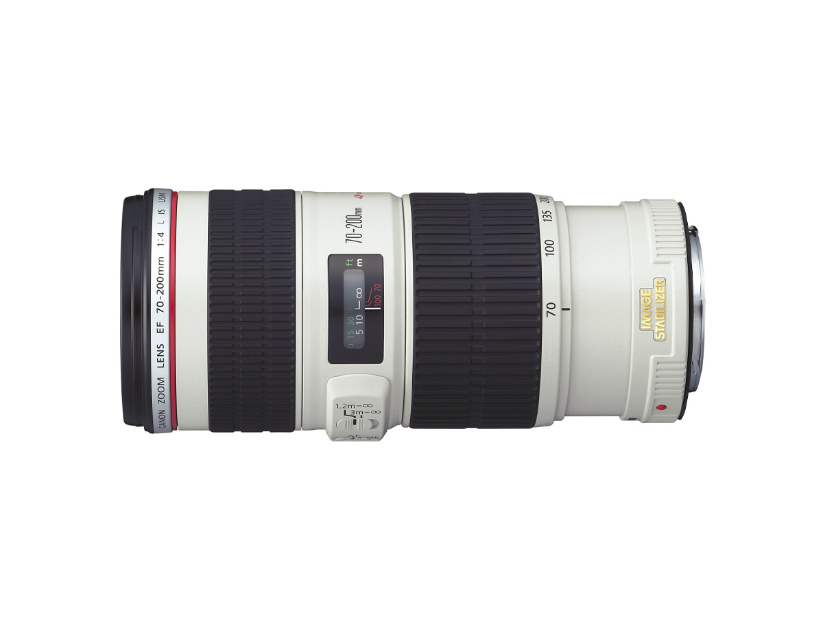 Side view of Canon EF 70-200mm f/4L IS USM lens