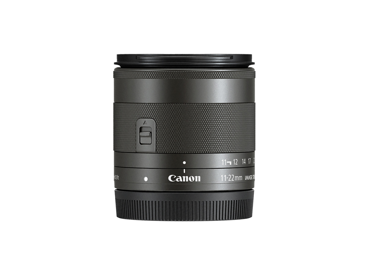 Side view of Canon EF-M 11-22 f/4-5.6 IS STM lens