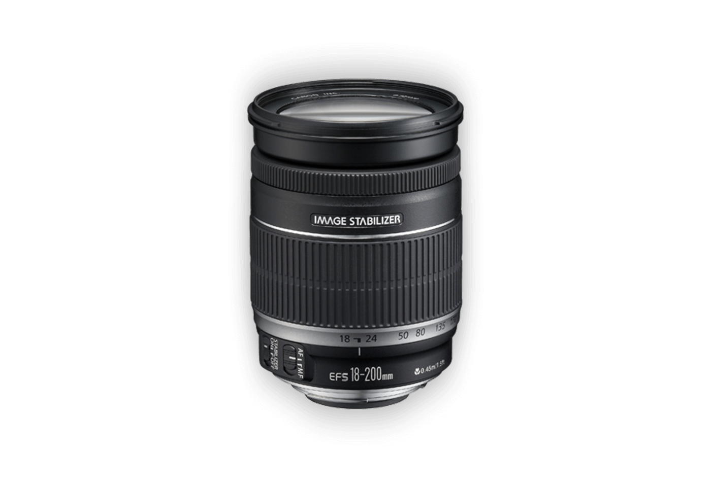 Side view of Canon EF-S 18-200mm f/3.5-5.6 IS lens