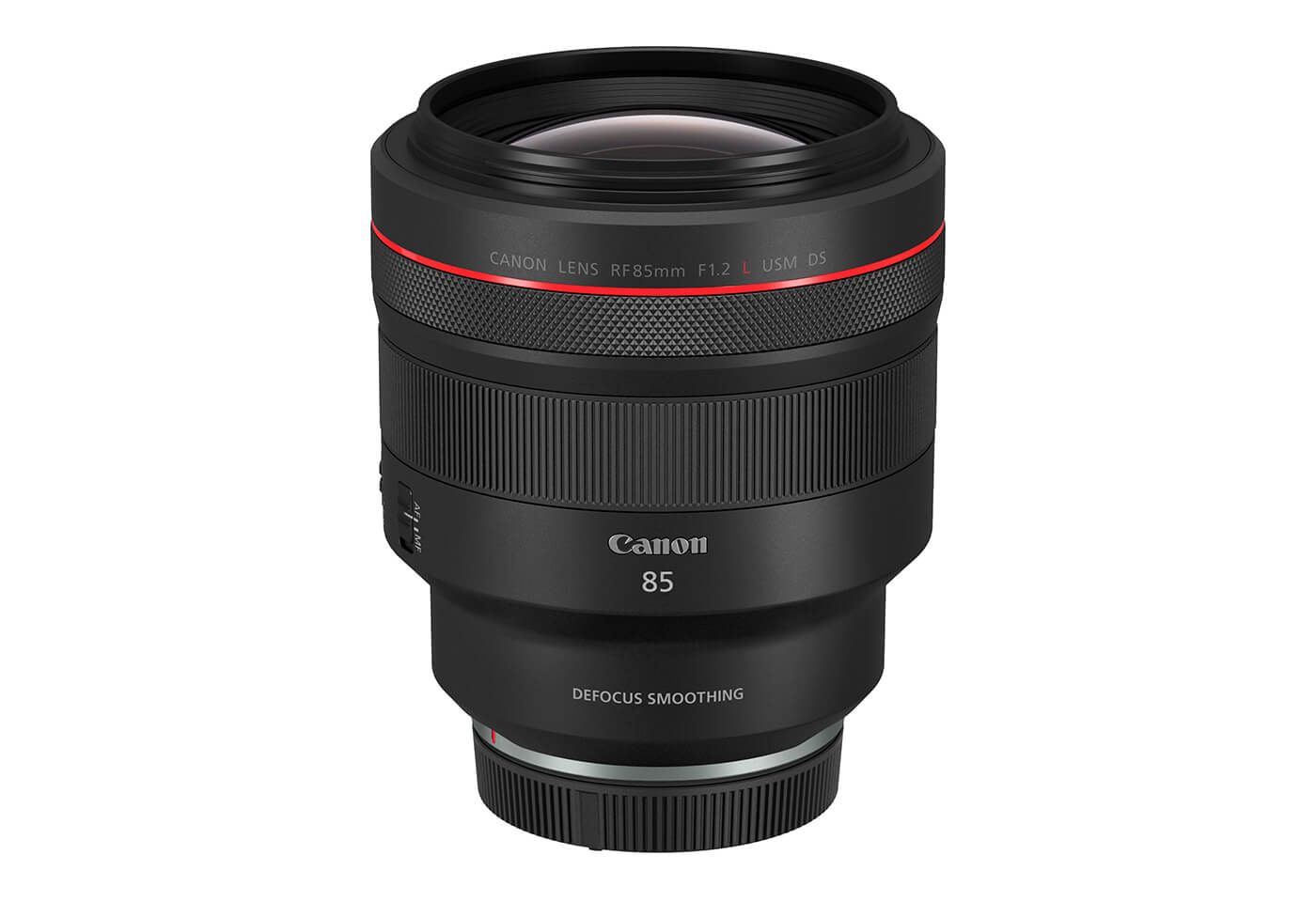 Front face tilt product image of Canon prime lens RF 85mm f/1.2L USM DS