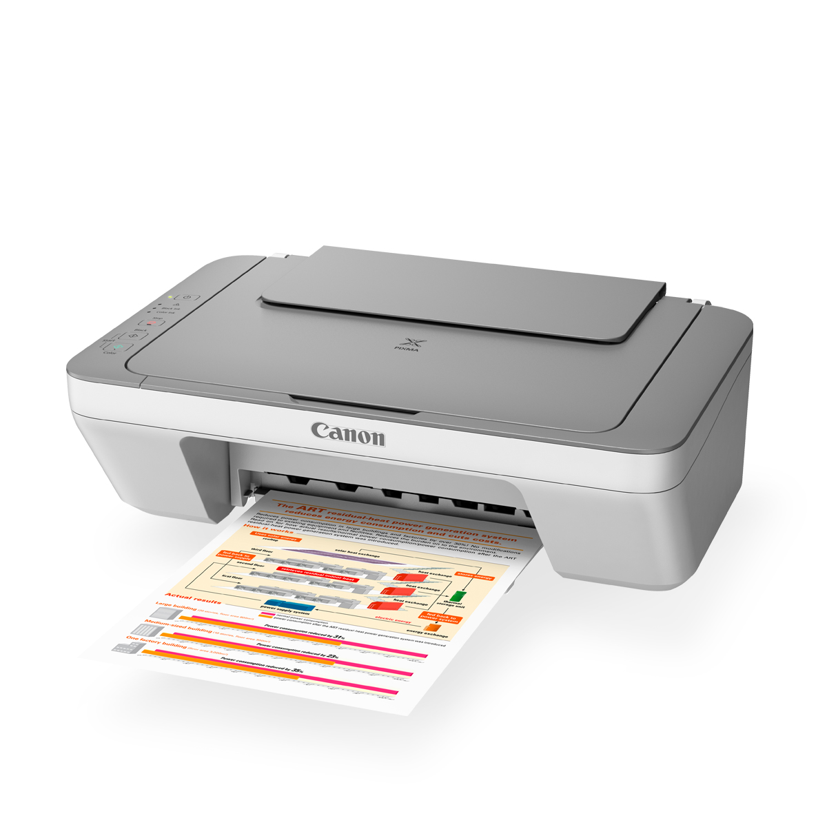 white PIXMA printer open with paper coming out