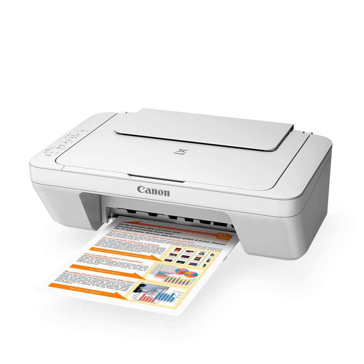 pixma mg2560 white front angled with paper coming out