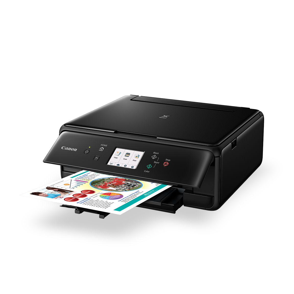 PIXMA TS6060 black front angled with shadow