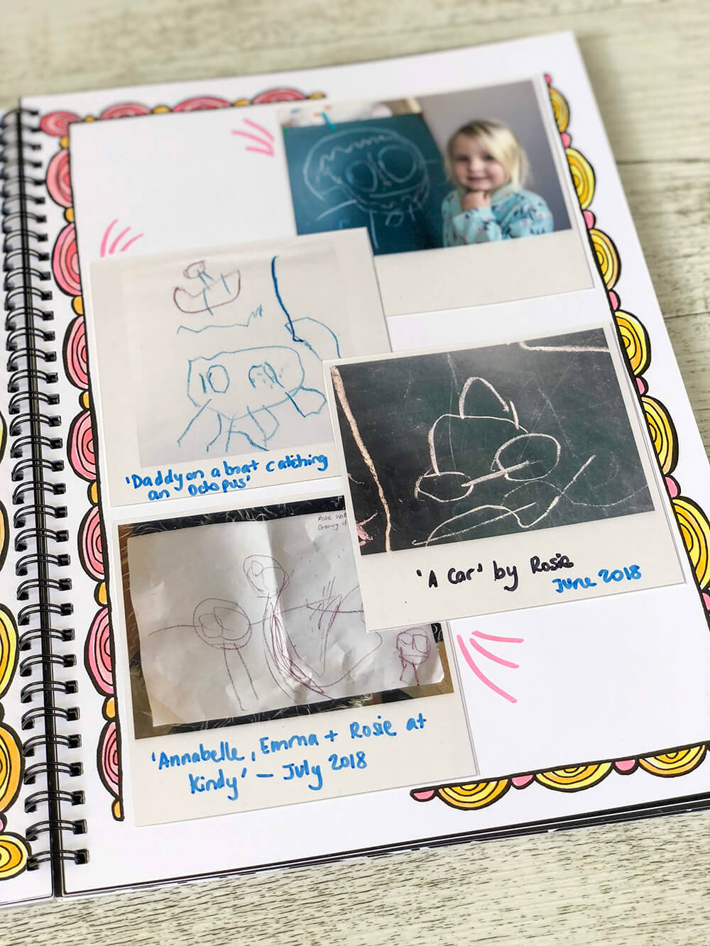 Printed photo cards in notebook