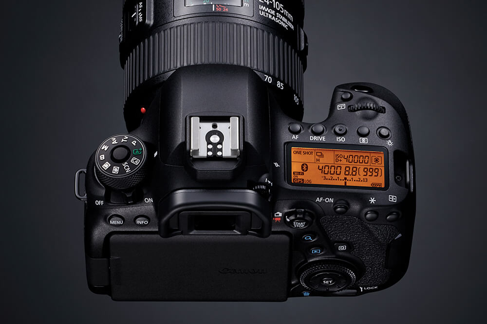 Top view product shot of Canon EOS 6D Mark II