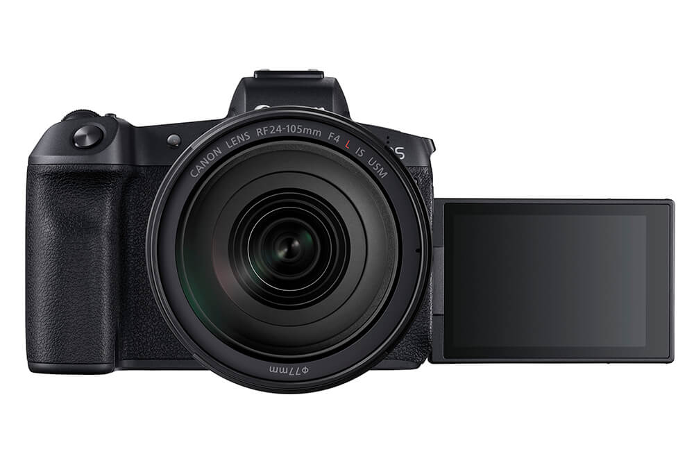 EOS R Front showing display