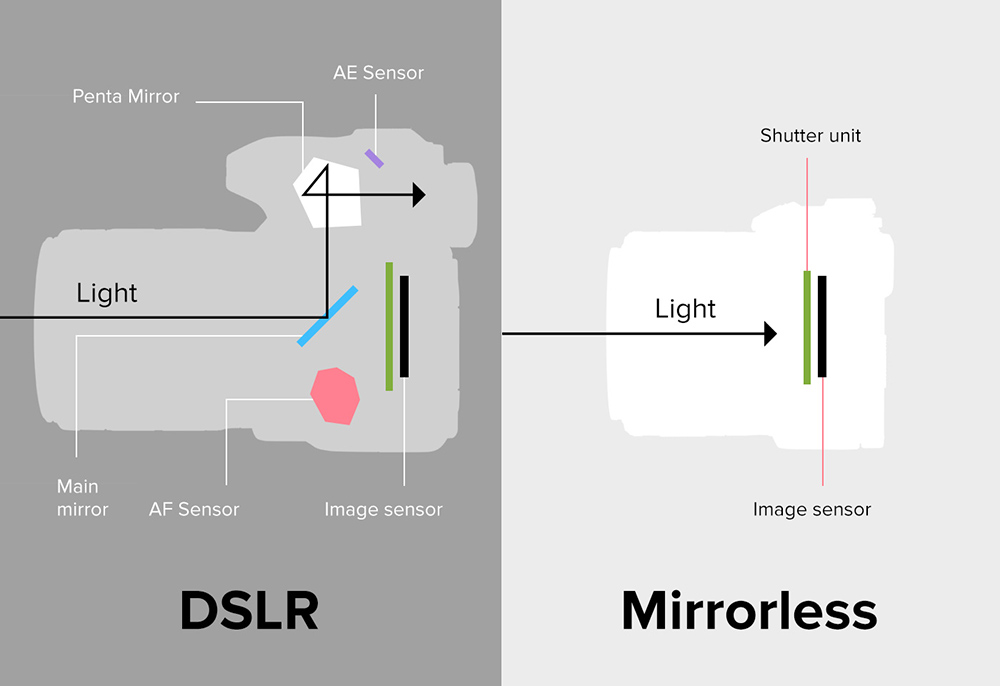 Comparison between a Mirrorless and a DSLR camera from the inside