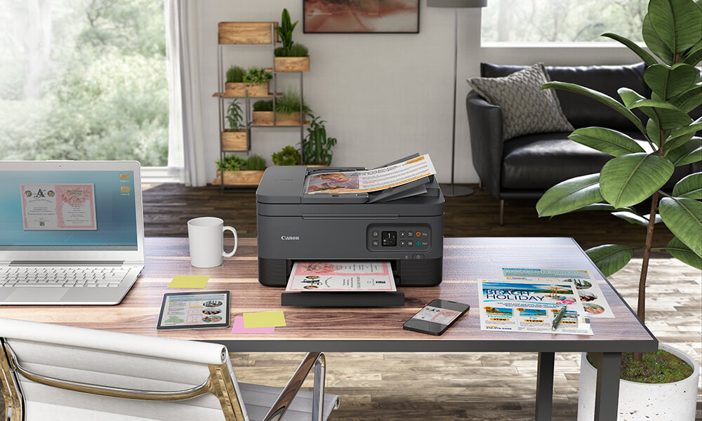 PIXMA HOME TR7060 printer on a home office