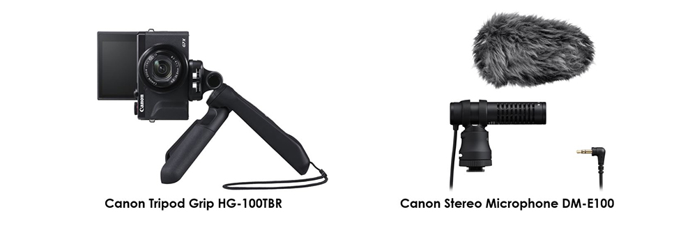 Canon Tripod Grip HG-100TBR and Stereo Microphone DM-E100