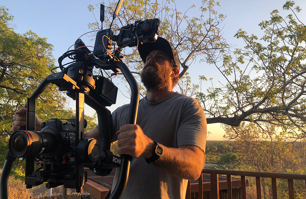 Taylor Steele filming Nat Geo's Save This Rhino documentary