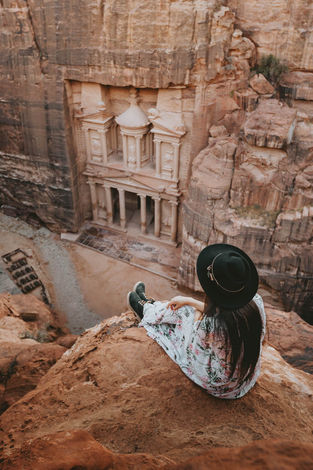 Photo of The Treasury, Petra from above. Shot by Jona Grey
