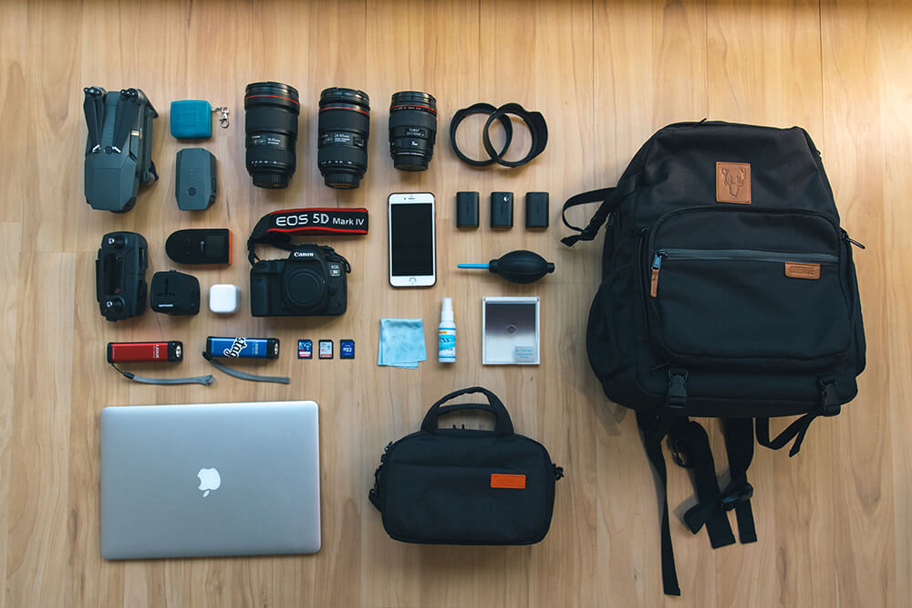 flat lay of recommended gear for photographing Finland. Shot by Elaine Li