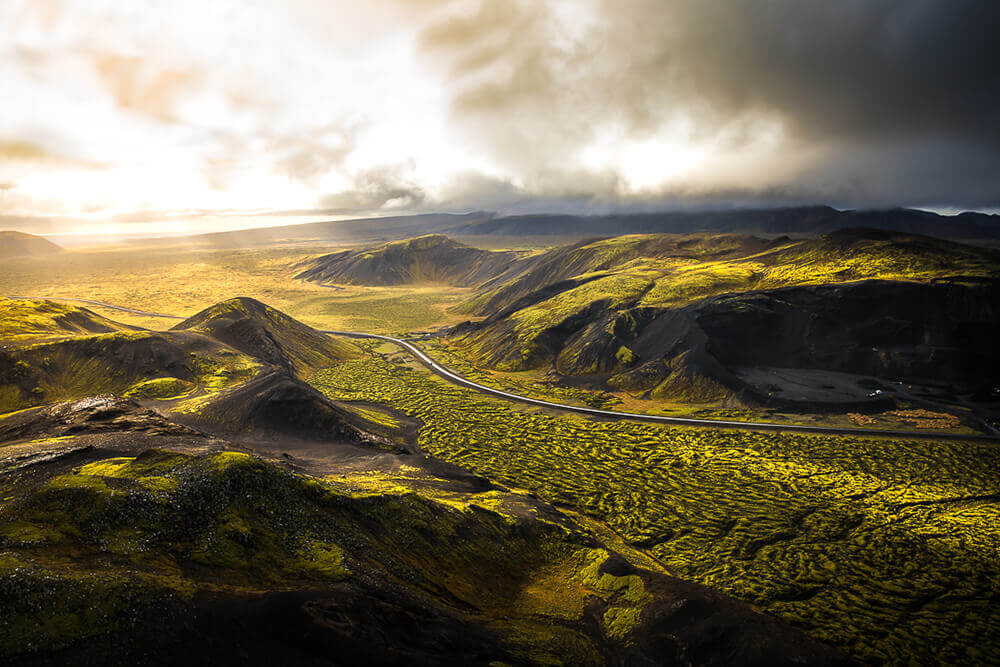 Aerial view of an Icelandic landscape. Image by Steph Vella