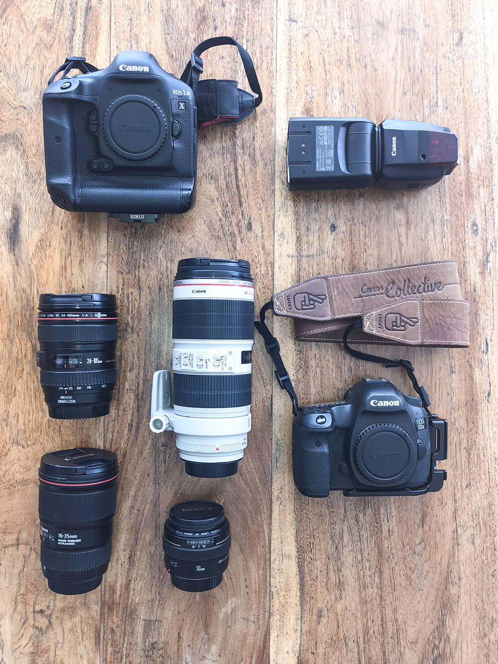 Flatlay of Jules Ingall's photography gear