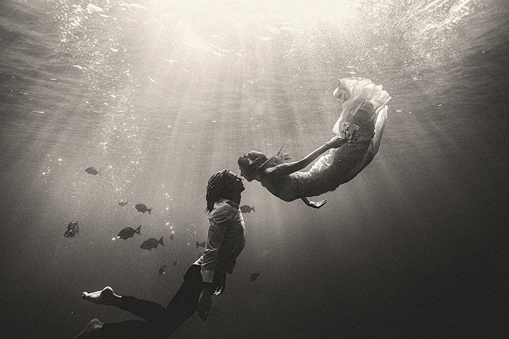 Champion Freediving couple, Michael and Emily Bates in Indonesia.