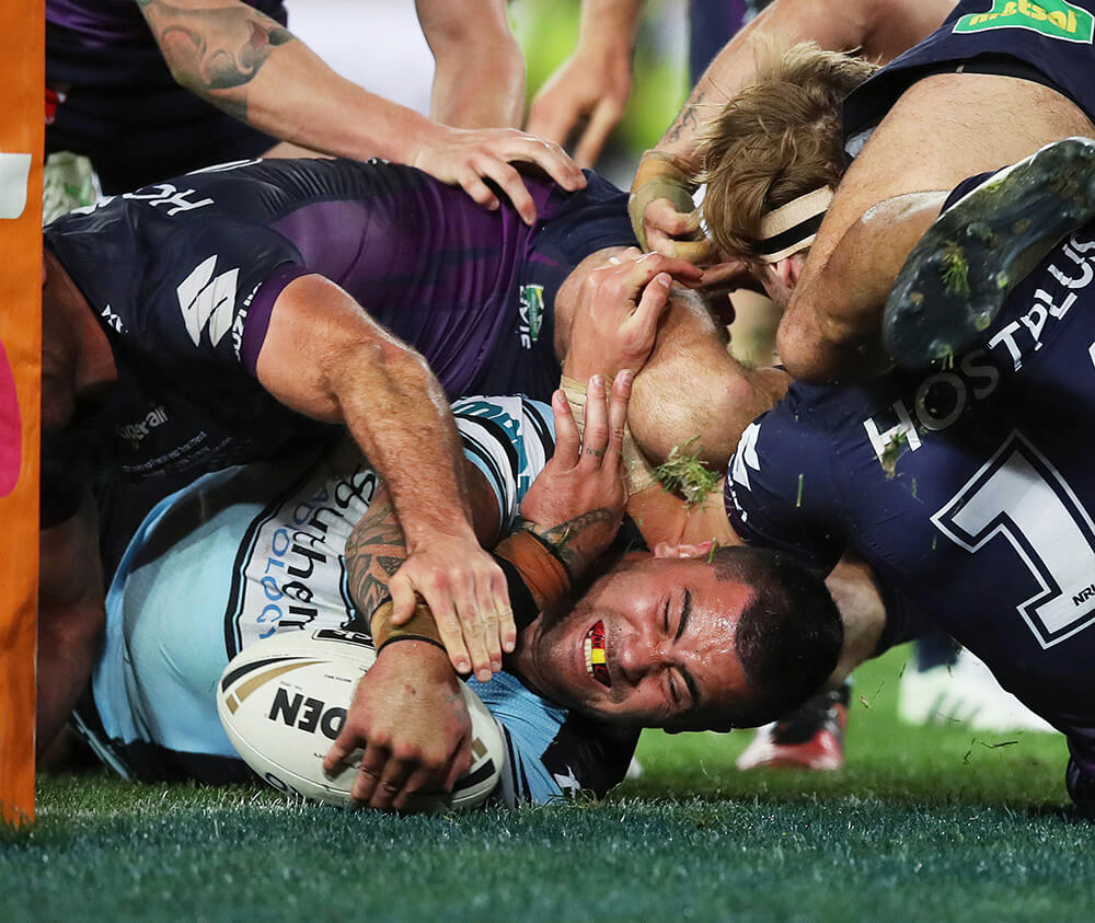 image of Cronulla Shark's Andrew Fifita scores the match-winning try