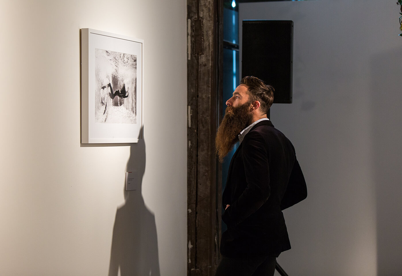 Image of patron looking at framed black and white image on wall