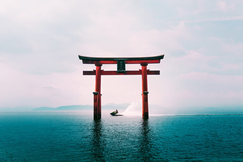 Photo of the Shirahige Shrine, Lake Biwa Japan. Image by @Itchban